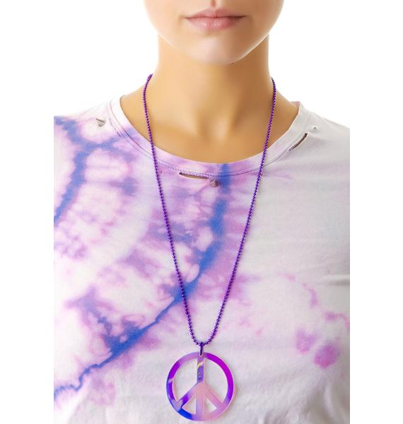 Suzywan Deluxe Peace and Love Iridescent Necklace