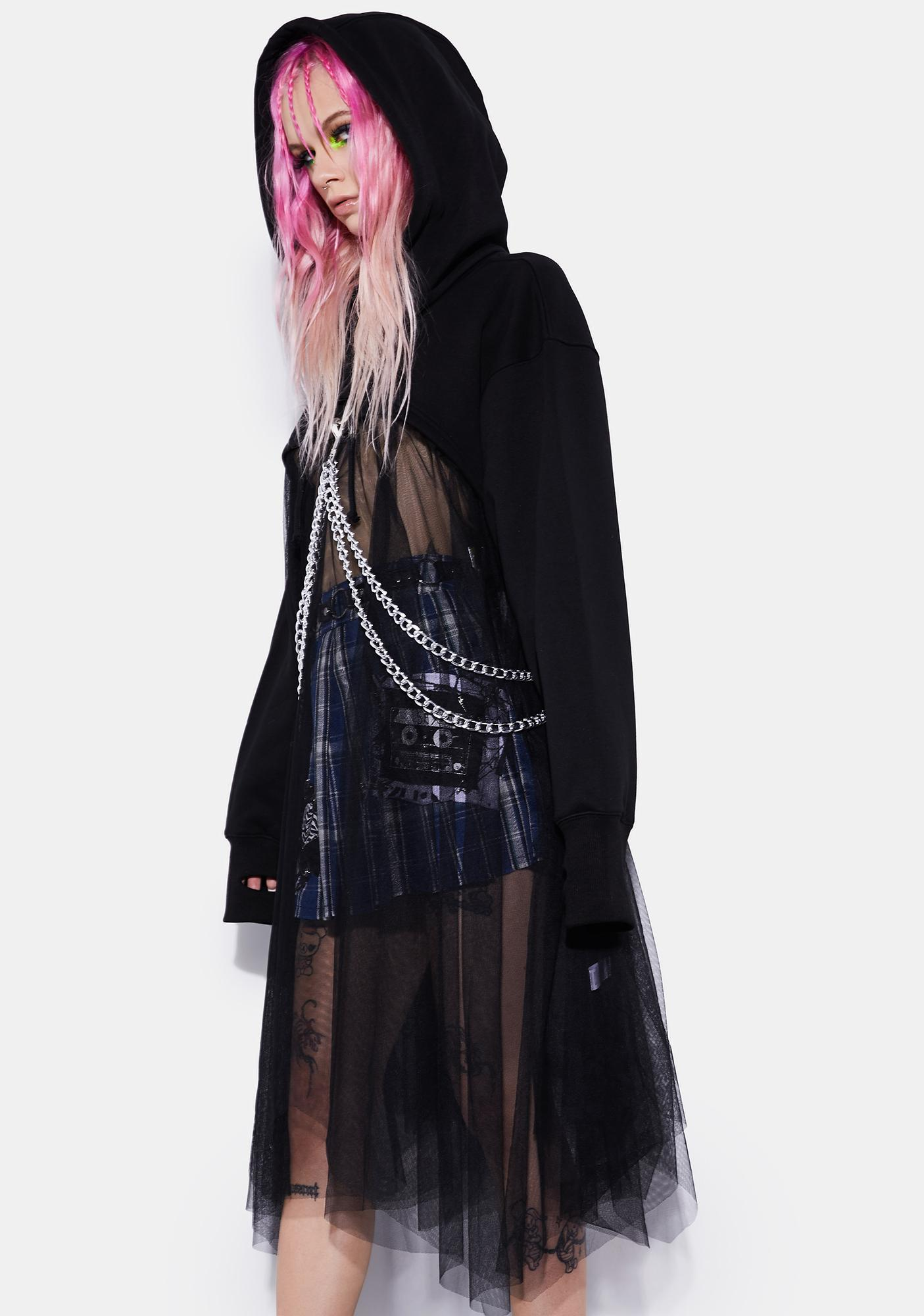 Current Mood Tulle Chained N' Dangerous Crop Hoodie