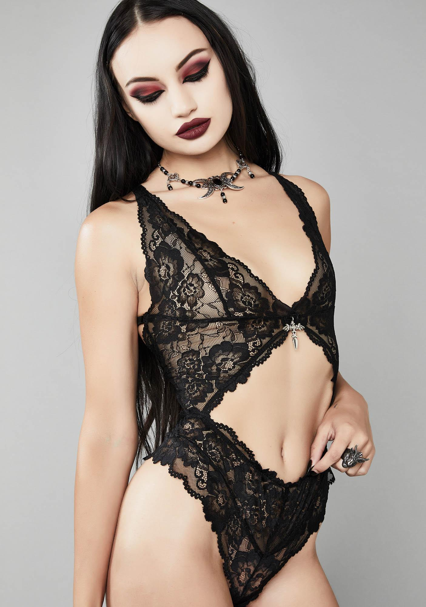 Widow Dagger To The Heart Lace Bodysuit