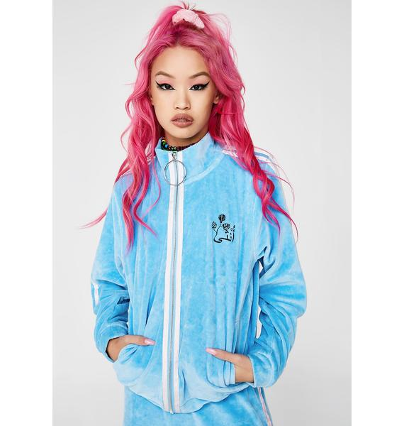 Illustrated People Velour Sports Zip Tracksuit Top