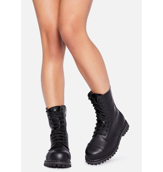 Demonia Vegan Leather Amped Up Lace Up Boots