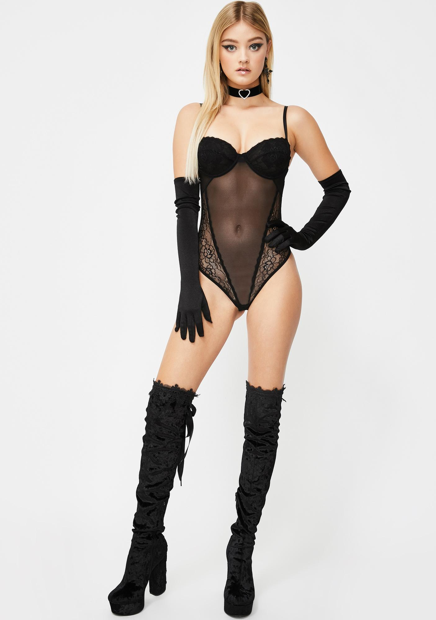 Noir Love Game Sheer Bodysuit