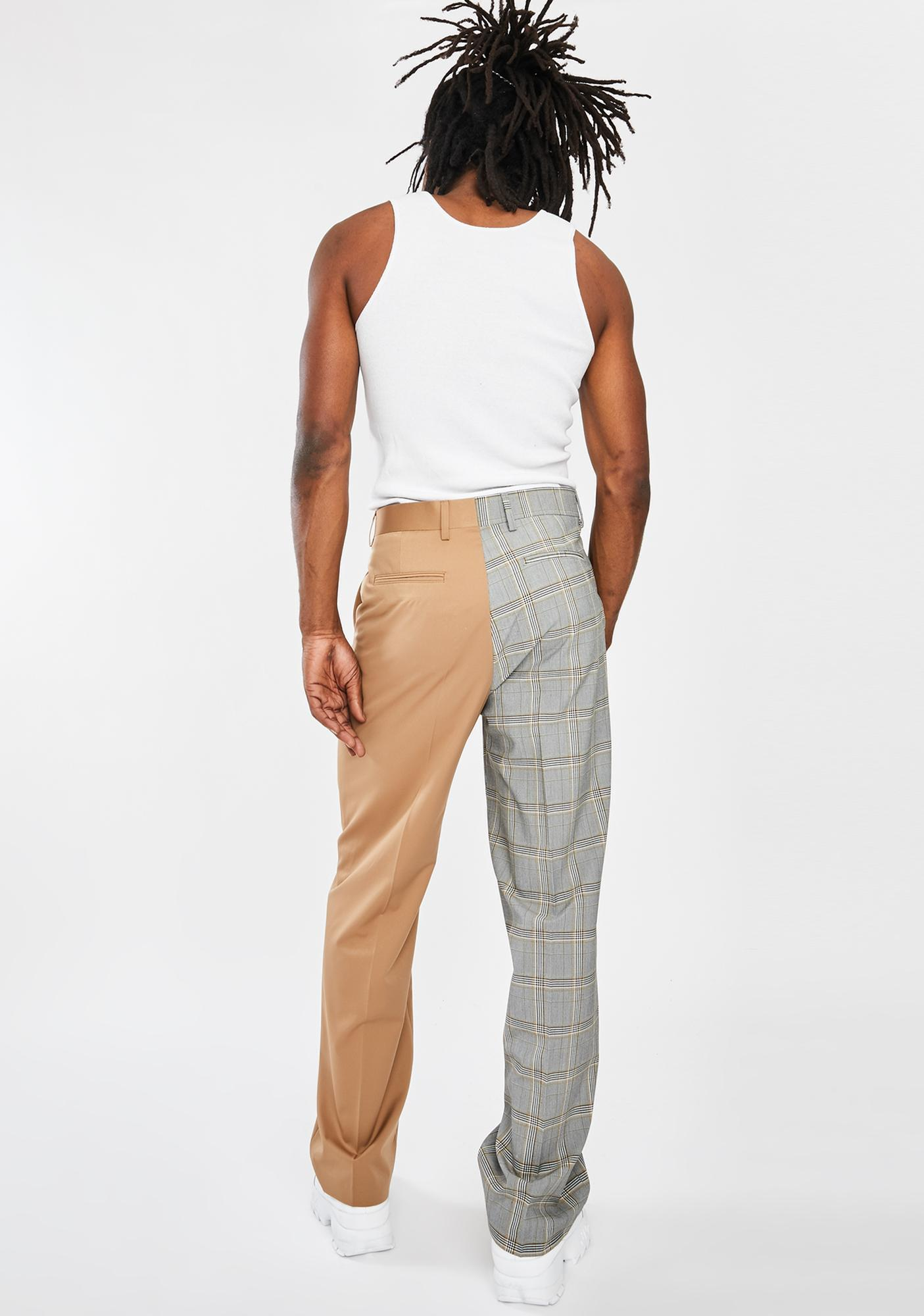 Jaded London Spliced Check Loose Fit Trousers