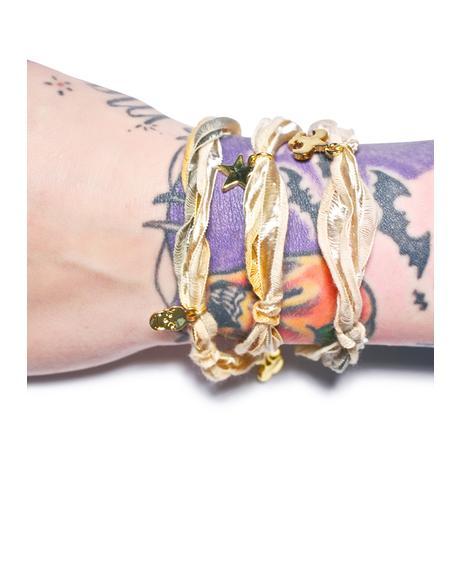 Vintage Ribbon Wrap Charm Bracelet