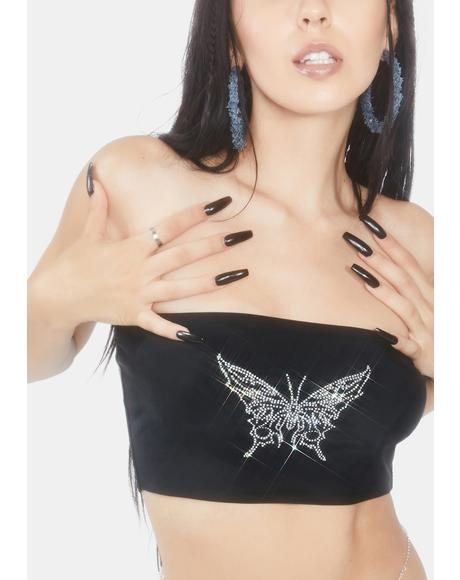 Sabbath Black Butterfly Bandeau Top