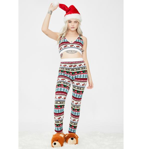 Knitty Kitty Santa Hat Knit Leggings