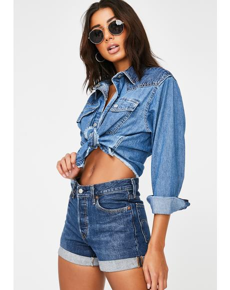 Mirella Raw Edge Western Denim Jacket