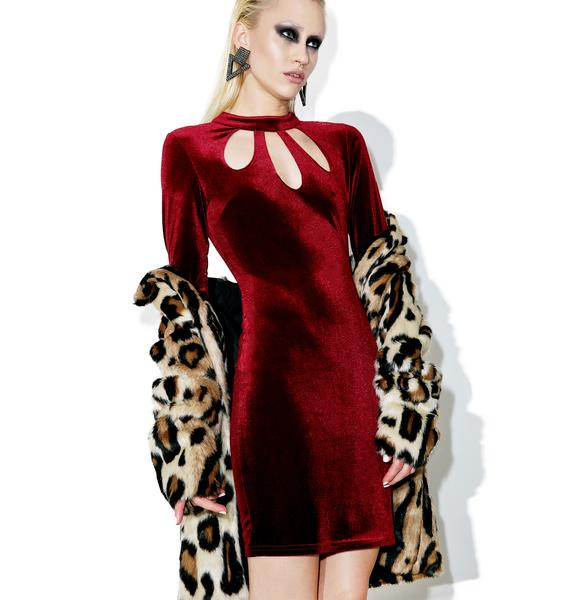 Glamorous Burgundy Halle Velvet Cut-Out Bodycon