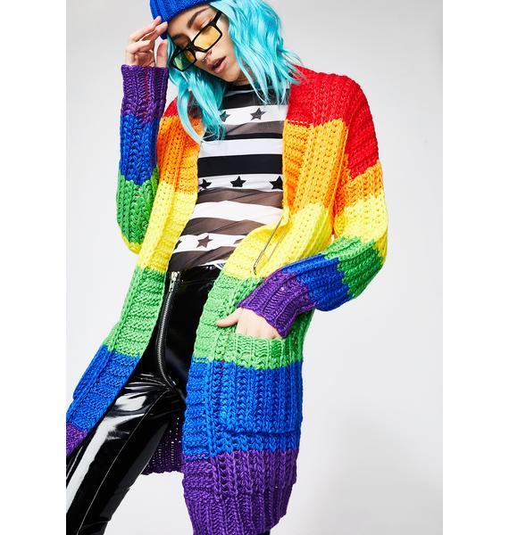 Current Mood Rainbow Luv Cardigan