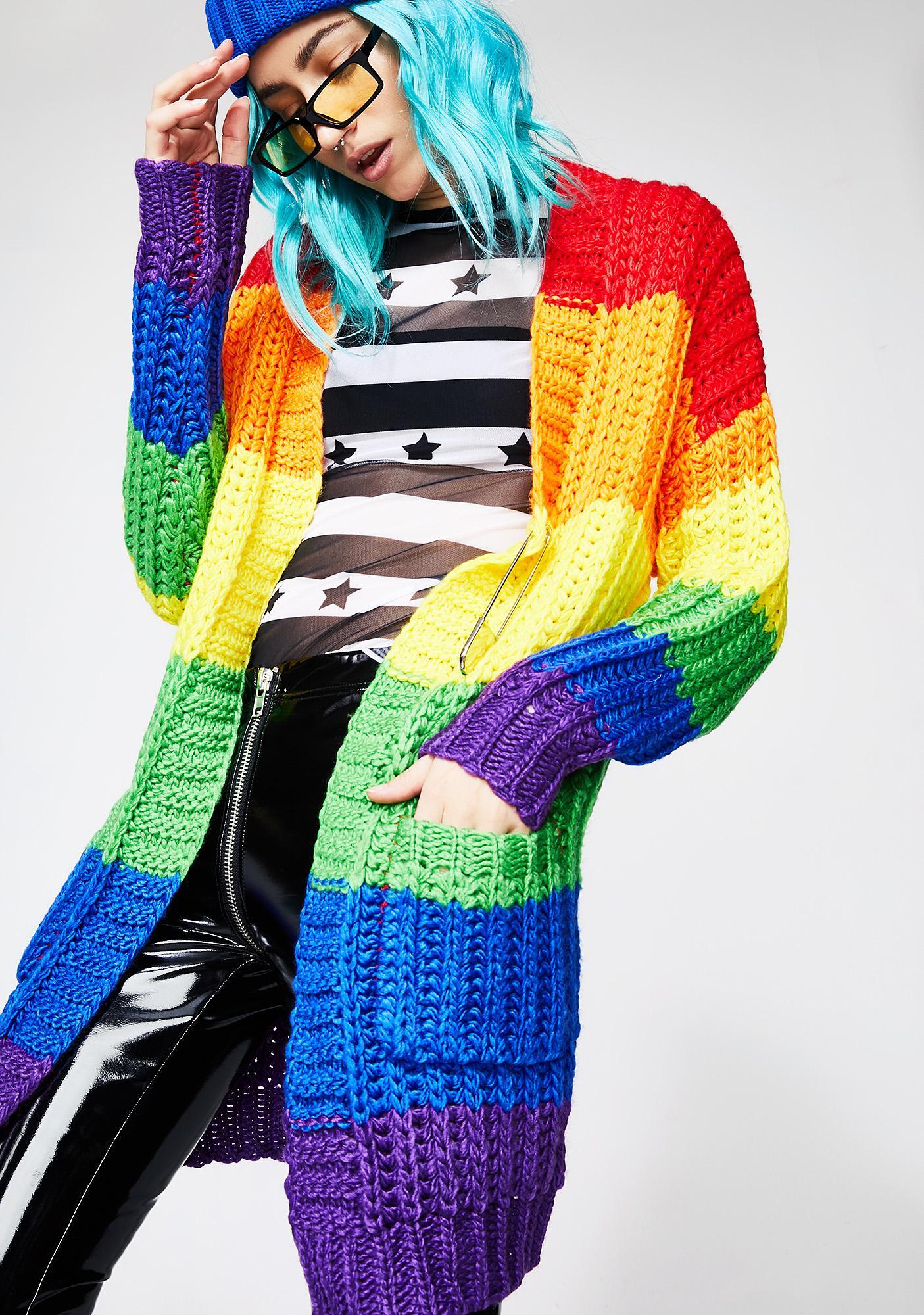 539a08009408dd Current Mood Rainbow Luv Cardigan | Dolls Kill