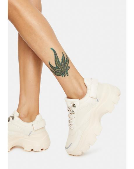 Beige Push The Limits Lace Up Sneakers