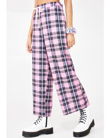 Pink Tartan Check Trousers