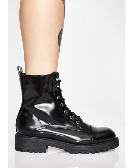 Midnight Glossy Illusions Combat Boots