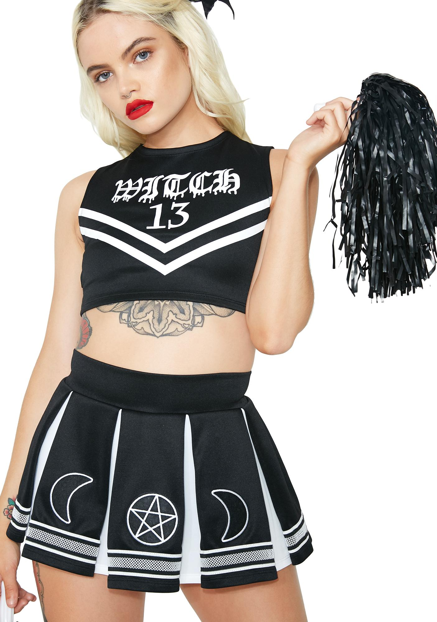Dolls Kill Coven Cheerleader Costume Set  sc 1 st  Dolls Kill & Sexy Devil Cheerleader Costume Set | Dolls Kill