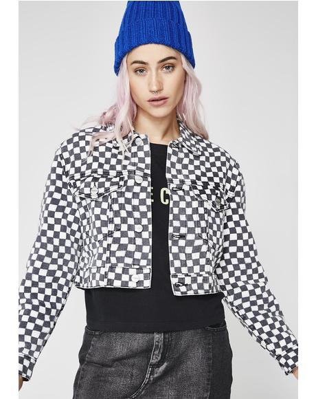 Mya Crop Denim Checkered Jacket