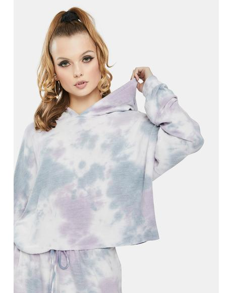 Purple Tie Dye Crop Sweatshirt
