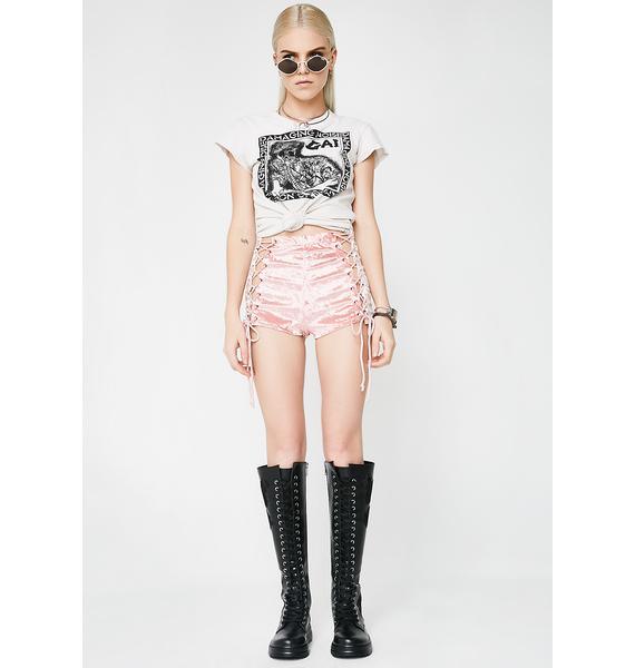 Current Mood Princess Velvet Crushin' Lace-Up Shorts
