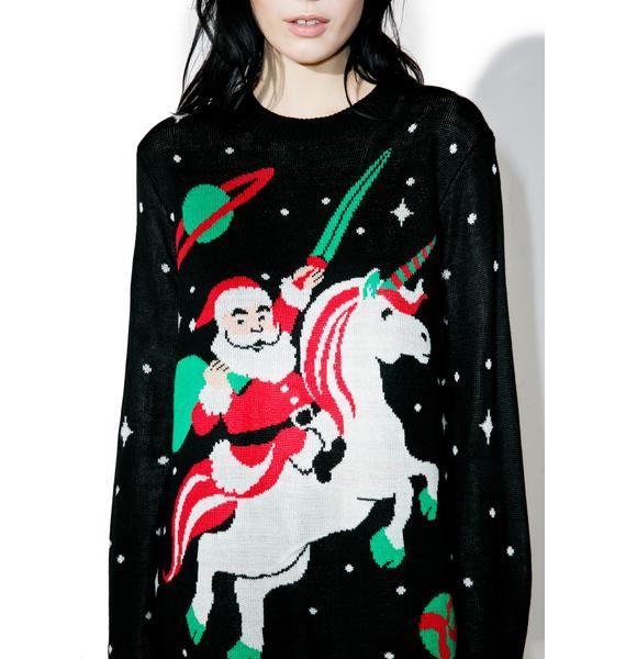 Tipsy Elves Santa Unicorn Sweater