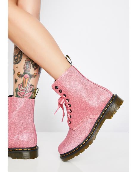 1460 Pascal Pink Glitter Boots