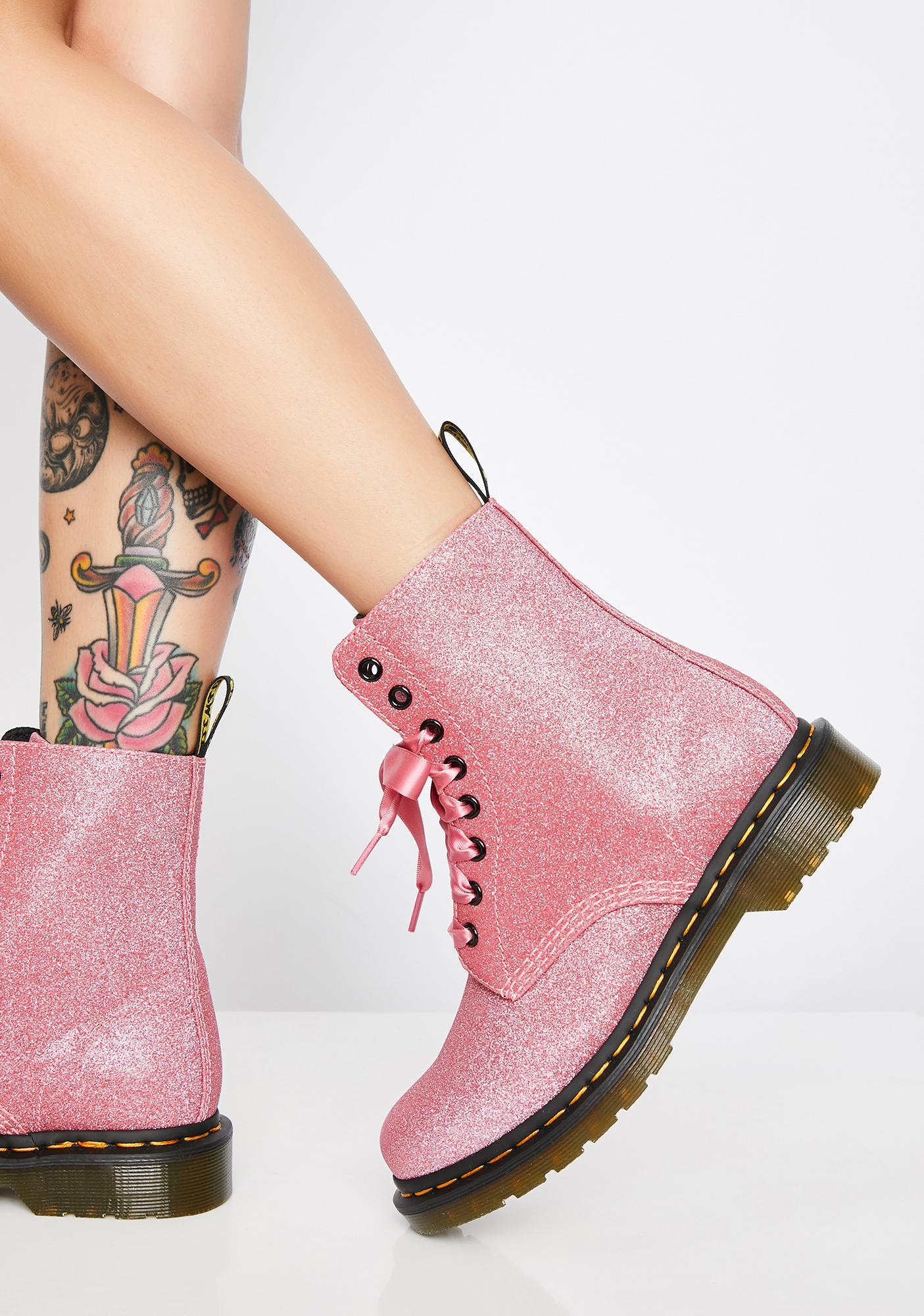 53df3171a639 Dr. Martens 1460 Pascal Pink Glitter Boots | Dolls Kill