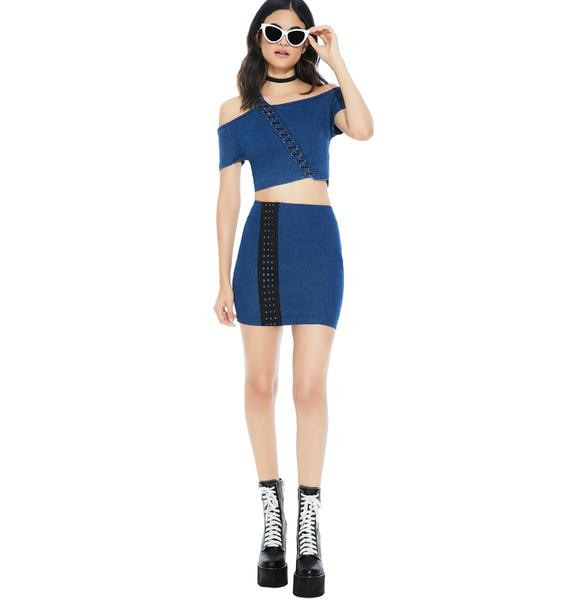 Folk Blues Mini Skirt