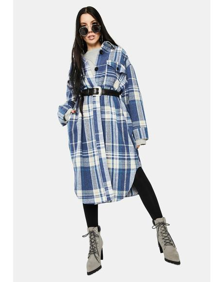 Blue Plaid Long Jacket