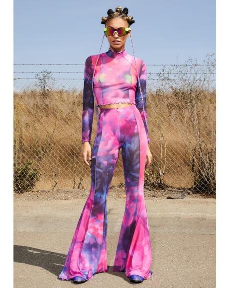 Find Euphoria Mesh Bell Bottoms