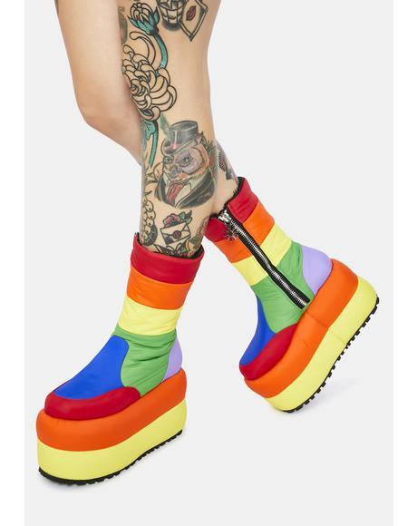 Sweet Retreat Platform Puffer Boots
