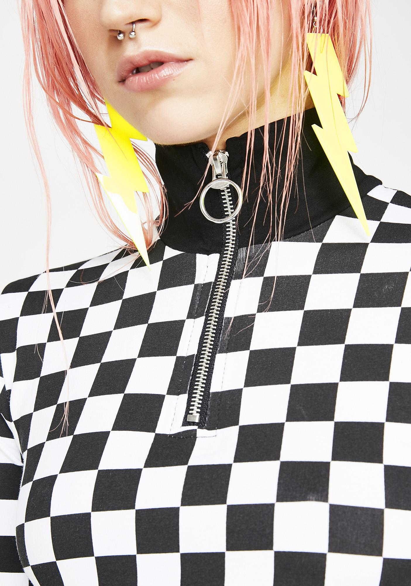 Neon Lightning Bolt Earrings Neon Yellow Dolls Kill