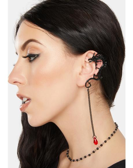 Onyx Mystic Fire Dragon Ear Cuff