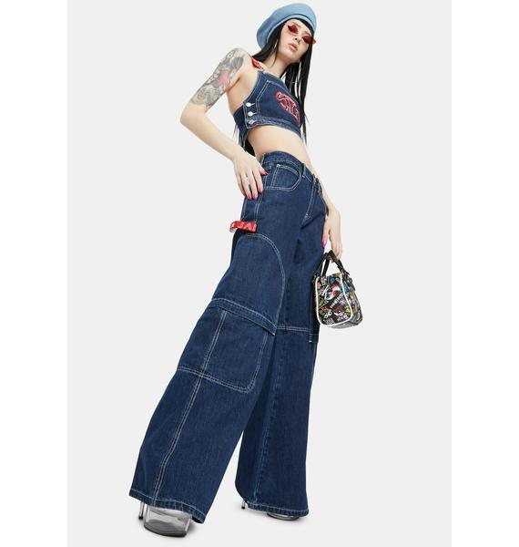 Jaded London Oversized Low Rise Skater Jeans With Contrast Stitching