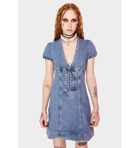 Free People Something Sweet Denim Mini Dress