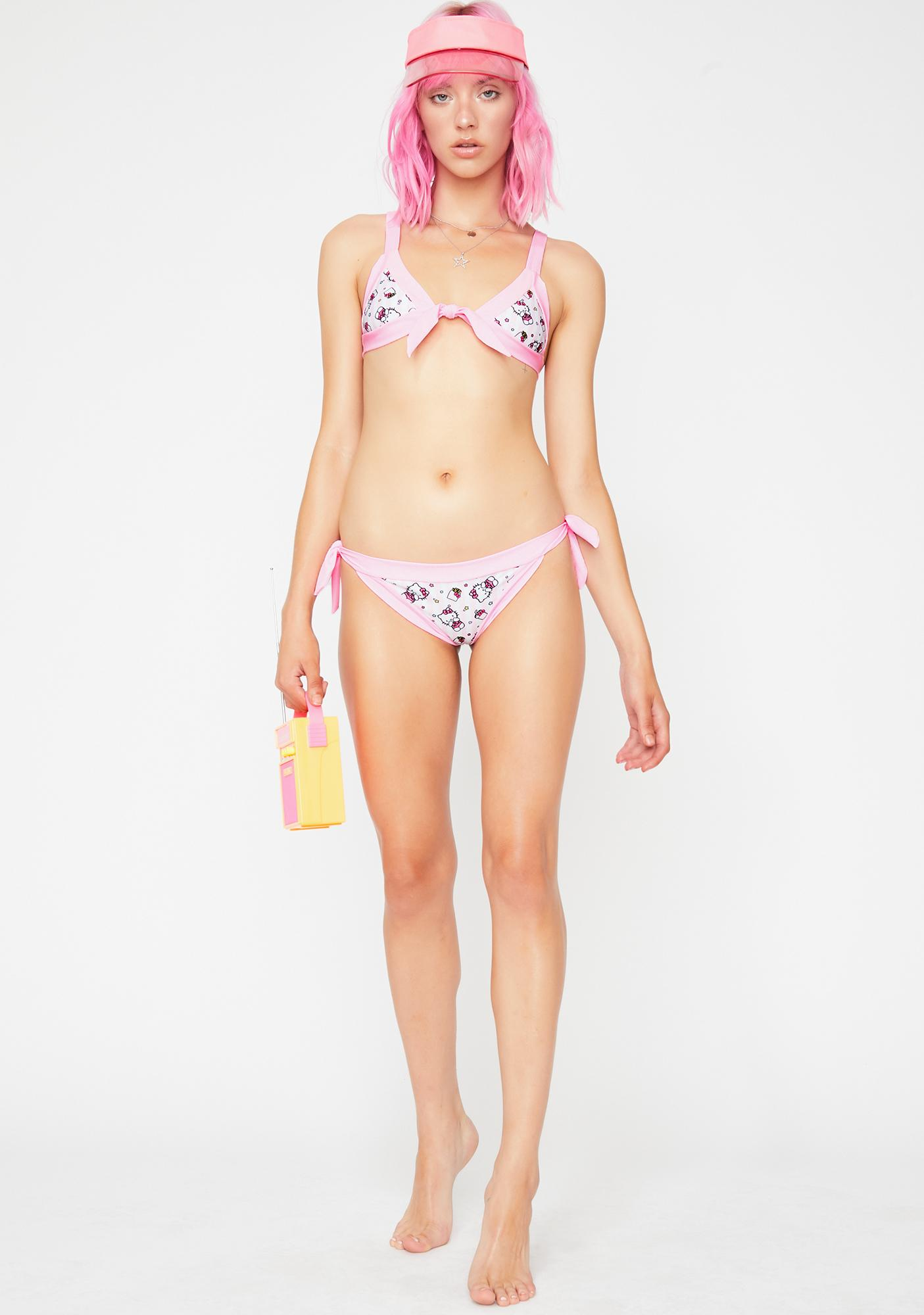 Lolli Swim x Hello Kitty Stripe Bikini Bottoms