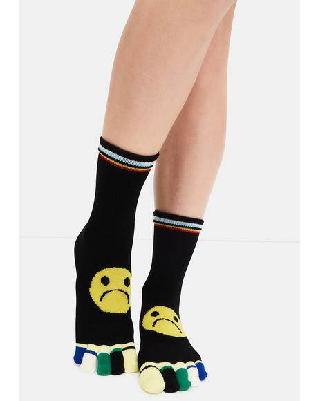 Turn That Frown Toe Socks
