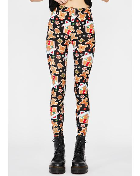 Gingerbread Dreams Printed Leggings