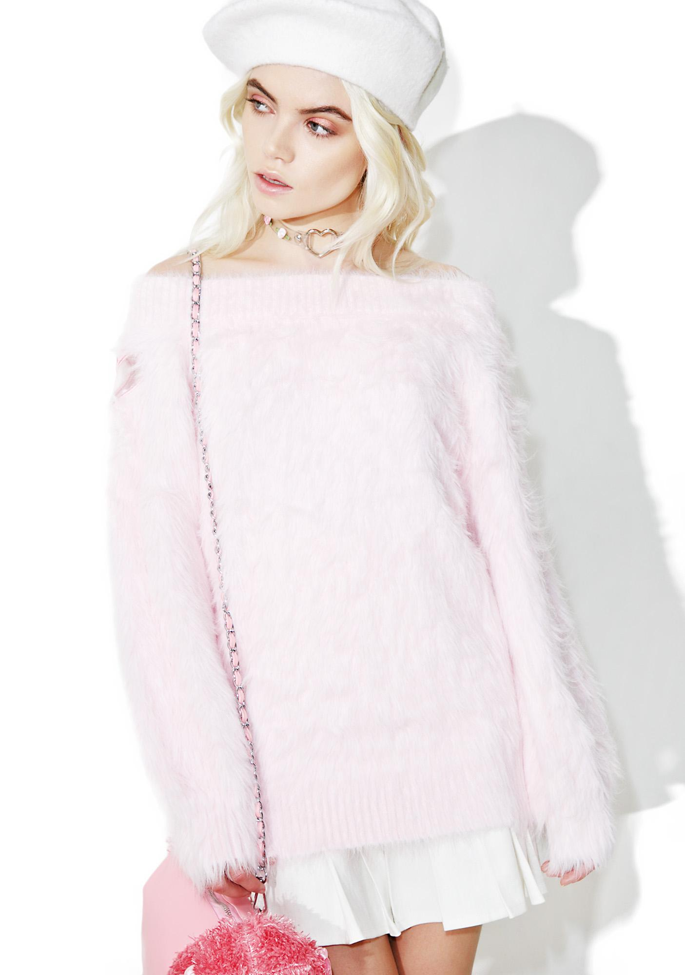 one spo Fluffy Heart Off Shoulder Sweater | Dolls Kill