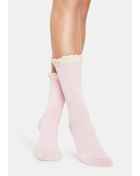Petal Pink Beloved Waffle Knit Socks