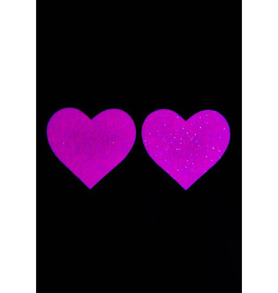 Neva Nude Pink Sparkle Heart UV Reactive Pasties