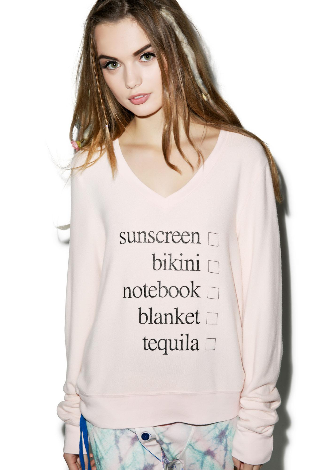 Wildfox Couture Weekend Trip V-Neck Baggy Beach Jumper