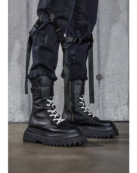 Snare Velcro Strap Leather Combat Boots