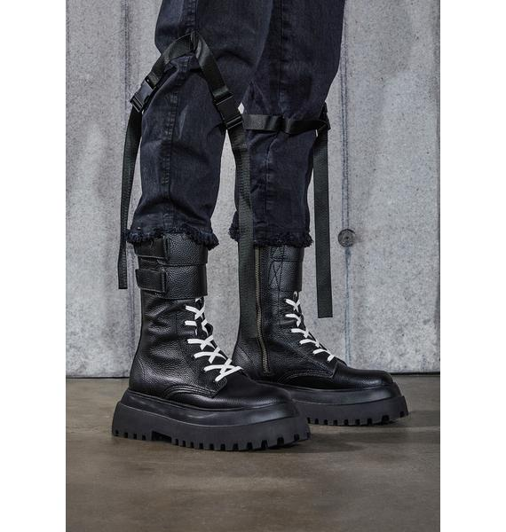 DARKER WAVS Snare Velcro Strap Leather Combat Boots