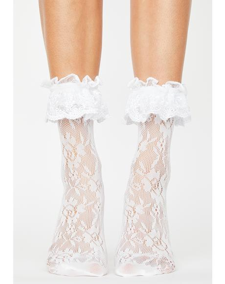 Ur In Trouble Lace Ruffle Socks