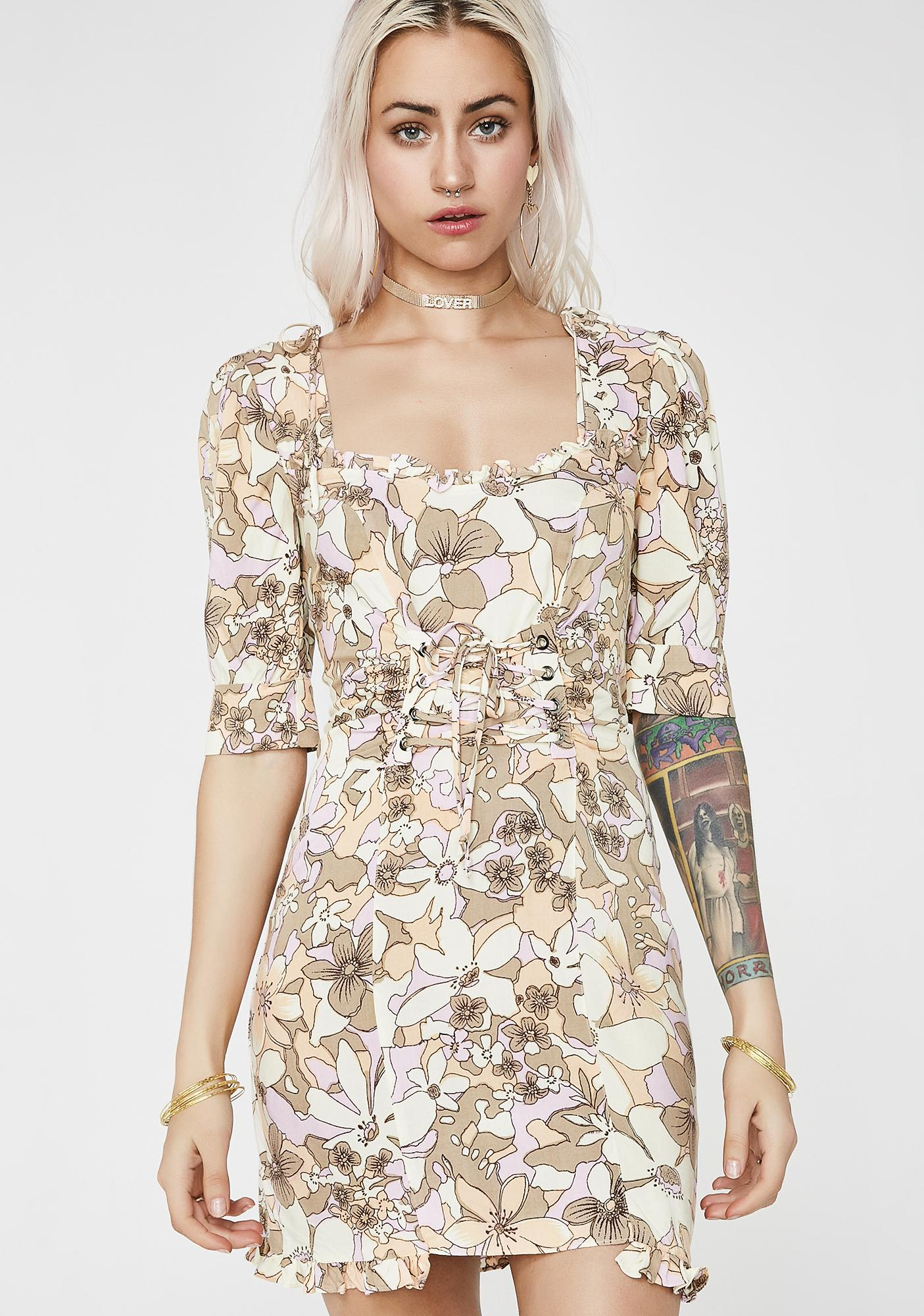 For Love & Lemons Renata Lace-Up Dress