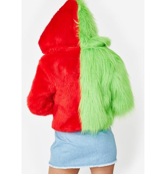 Ivy Berlin Two Faced Red Green Faux Fur Jacket