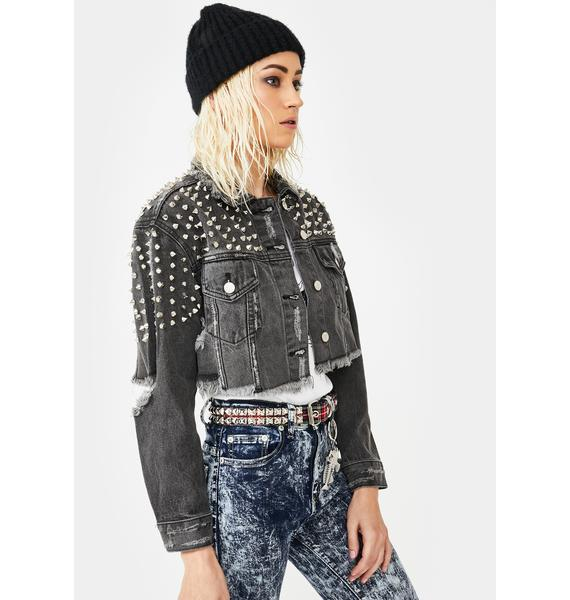 AZALEA WANG Lady Star Studded Denim Jacket