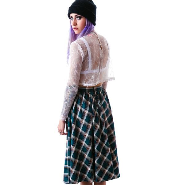 Catalano Plaid Hi Waisted Midi Skirt