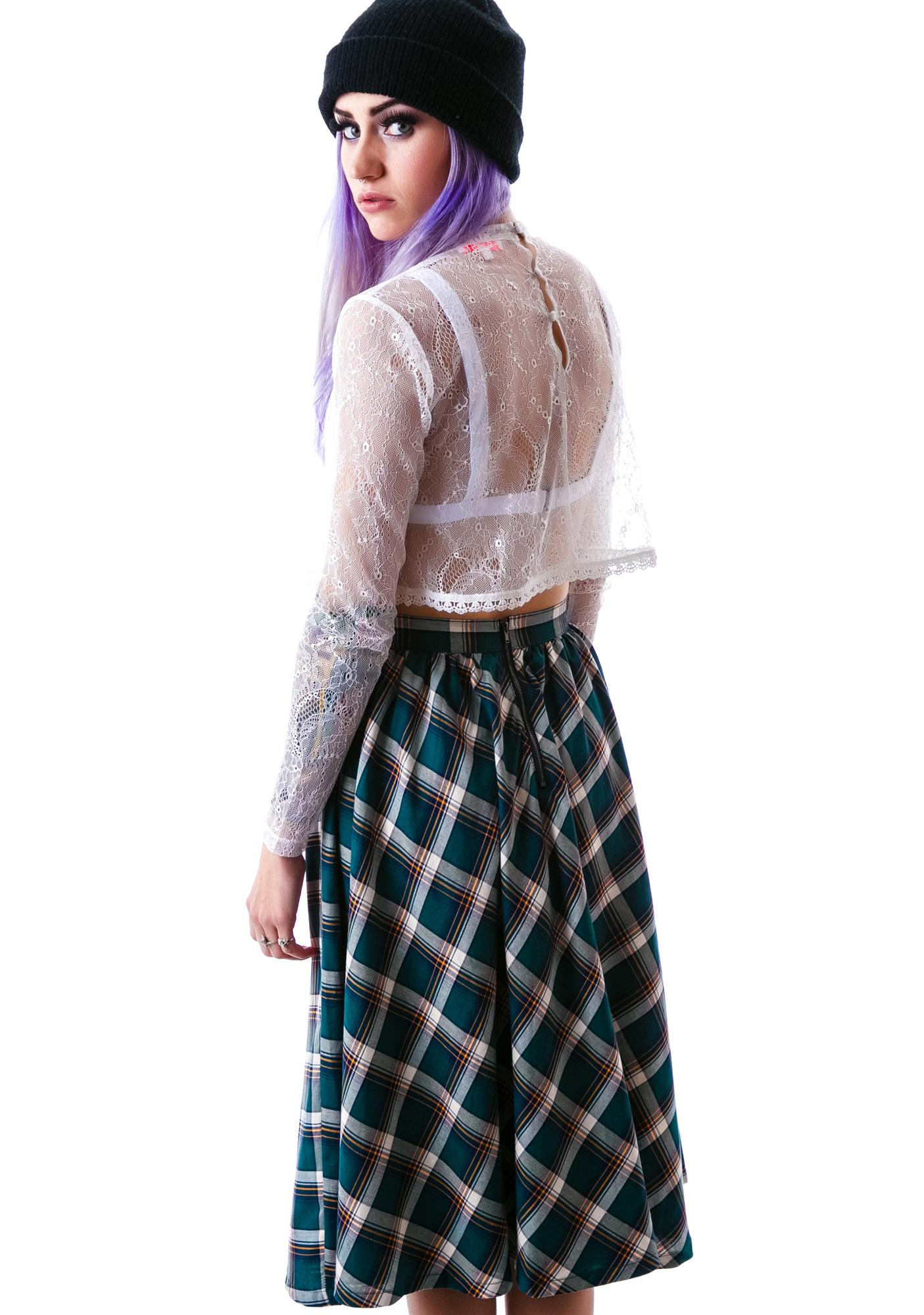 Catalano Plaid Hi Waisted Midi Skirt