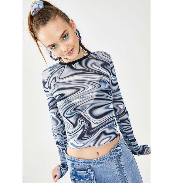 dELiA*s by Dolls Kill Whirl Of Wonder Mesh Top