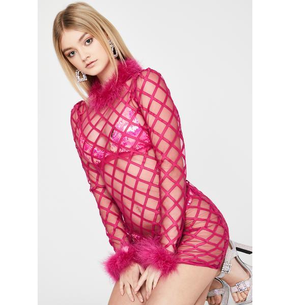 Fuchsia Lines of Temptation Sheer Dress