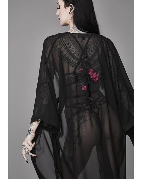 Forbidden Rose Embroidered Kimono